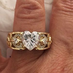Gold over Sterling Silver Heart Engagement Ring